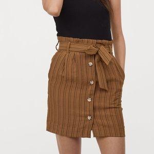 H&M Brown Black Button Front Paper Bag Mini Skirt